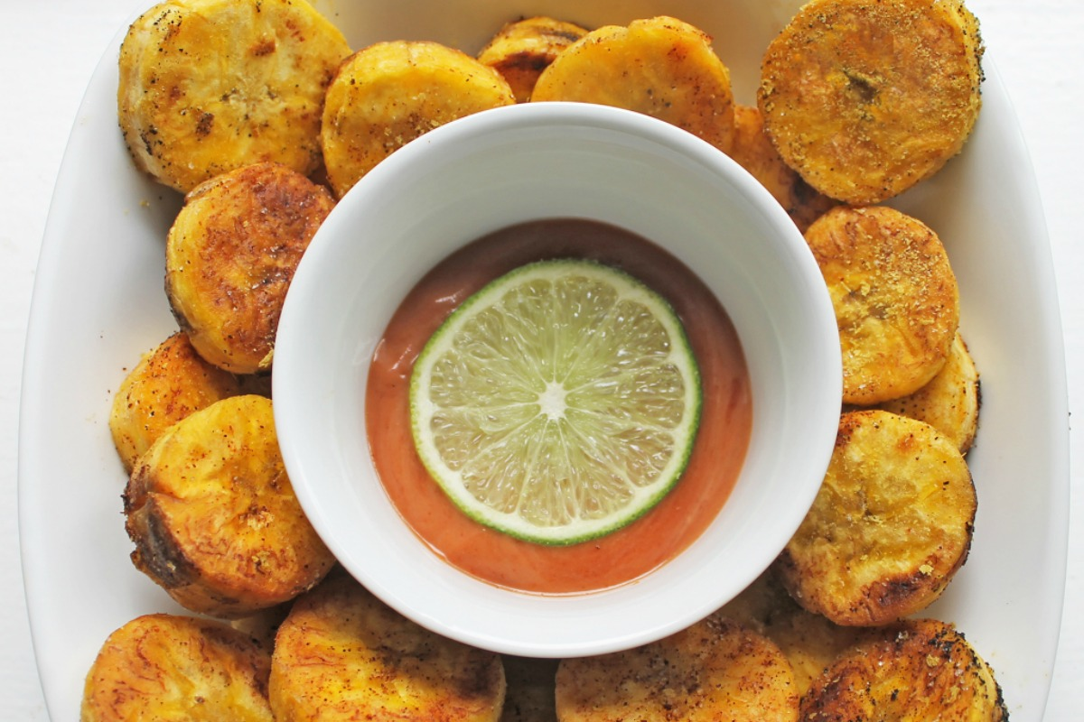 Vegan Chili Coated Plantain Crisps With Lime Ketchup
