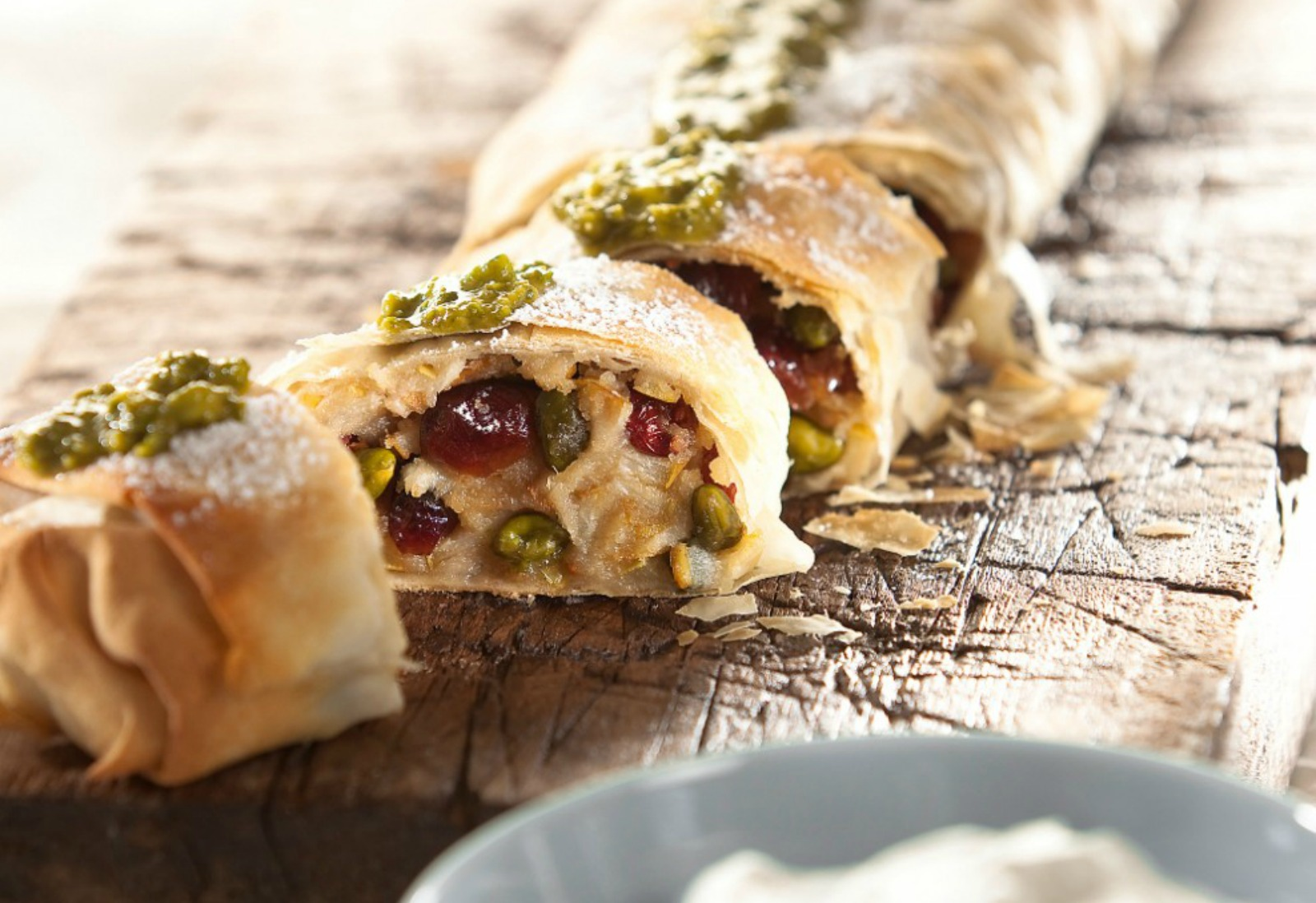 Vegan Pear Strudel With Pistachio Pesto with topping