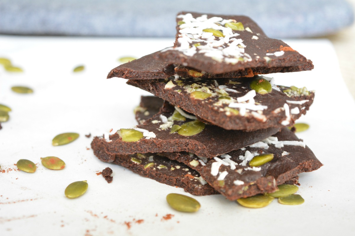Vegan 5 Ingredient Pepita Seeds and Coconut Raw Chocolate Bark