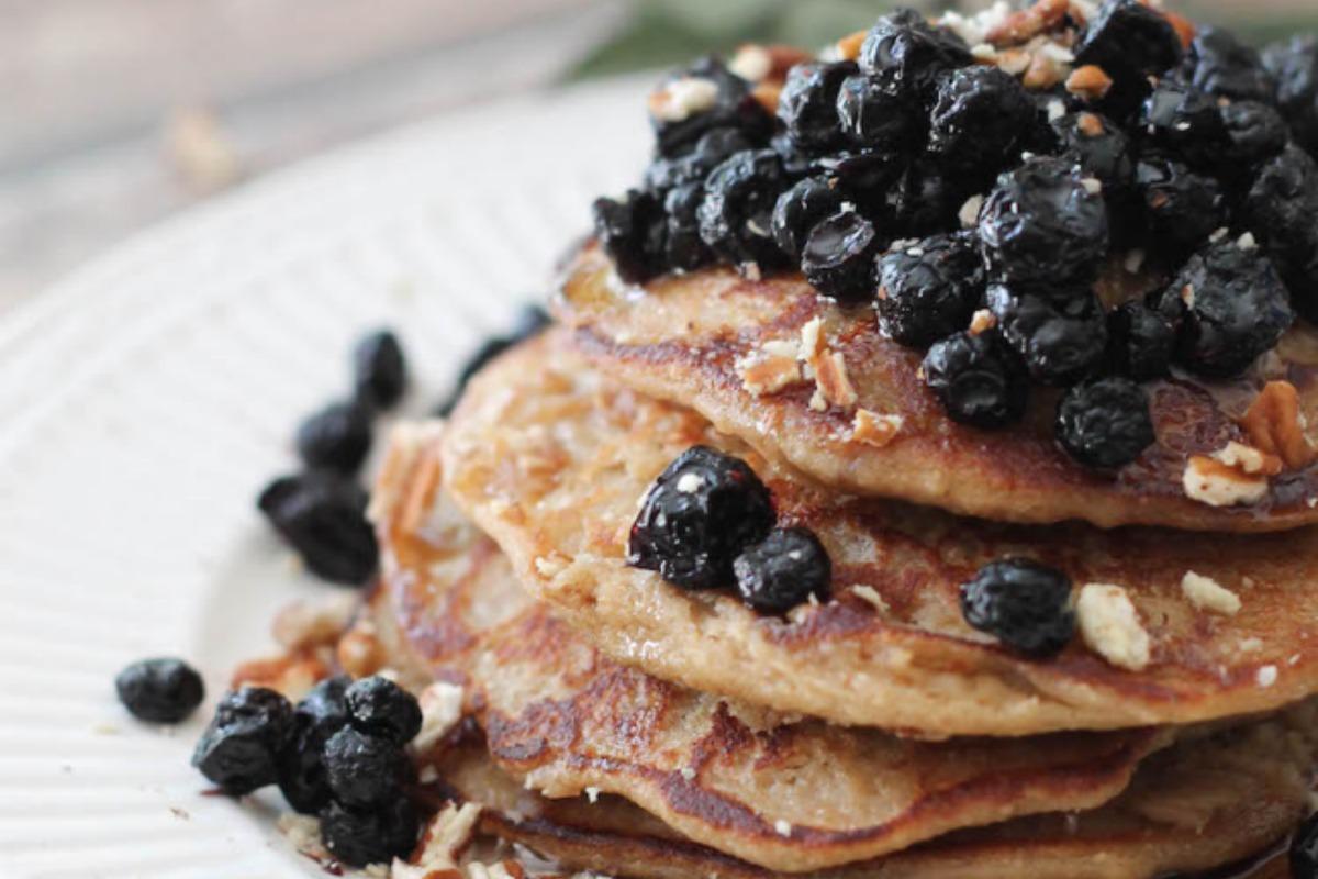 Vegan Lemon Banana Ricotta Pancakes With Dried Blueberry Compote [Gluten-Free]