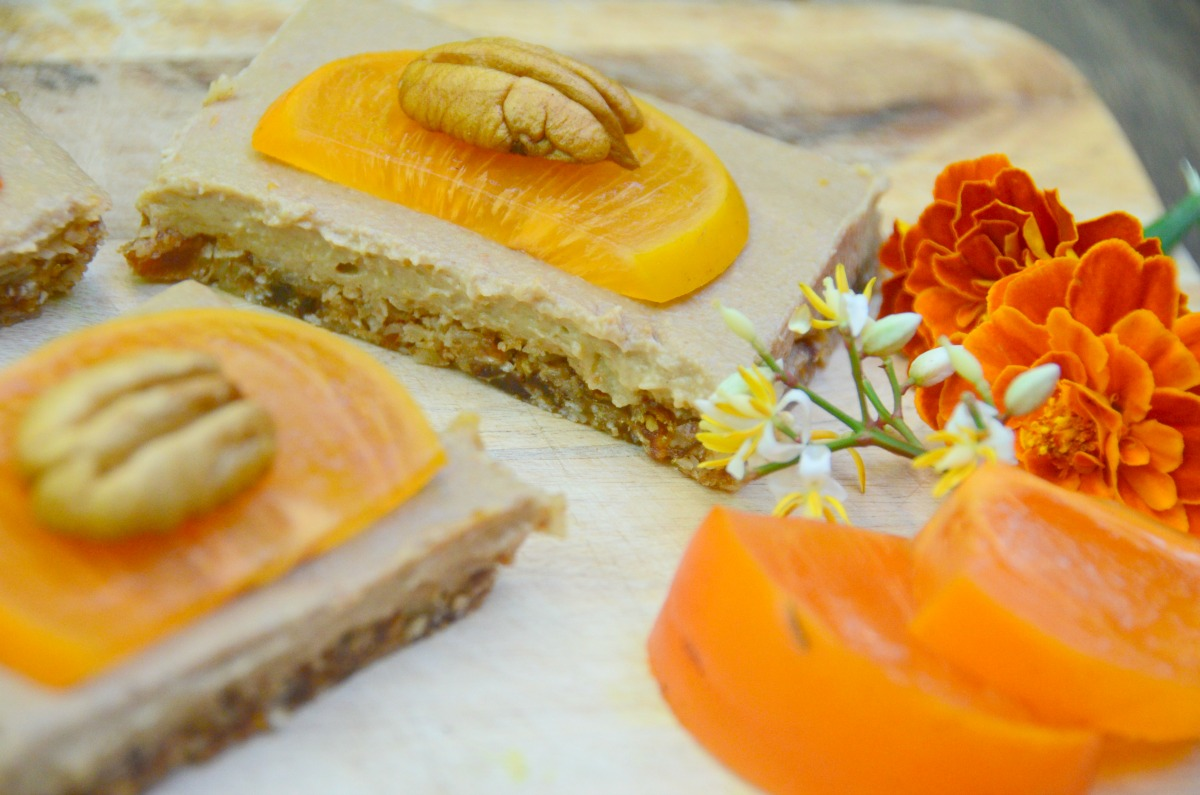 Vegan Persimmon and Turmeric Cheesecake Slice
