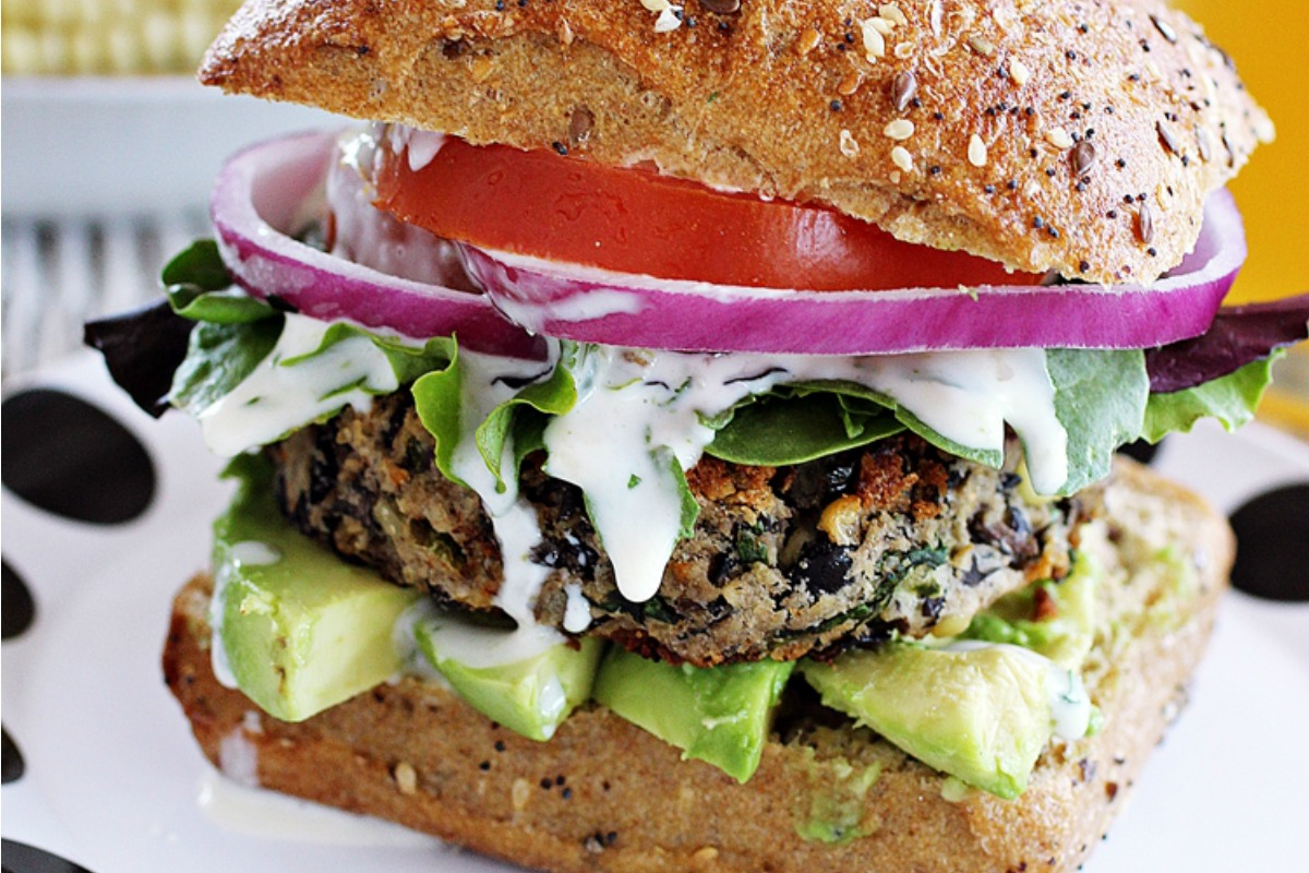 Vegan Black Bean Burgers With Cilantro Lime Sauce
