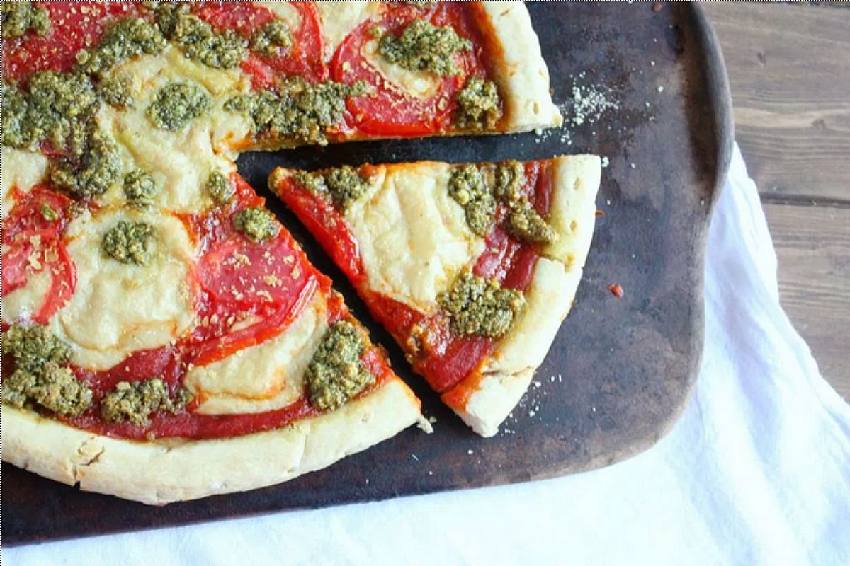 Margherita Pizza With Fresh Basil Pesto and Mozzarella