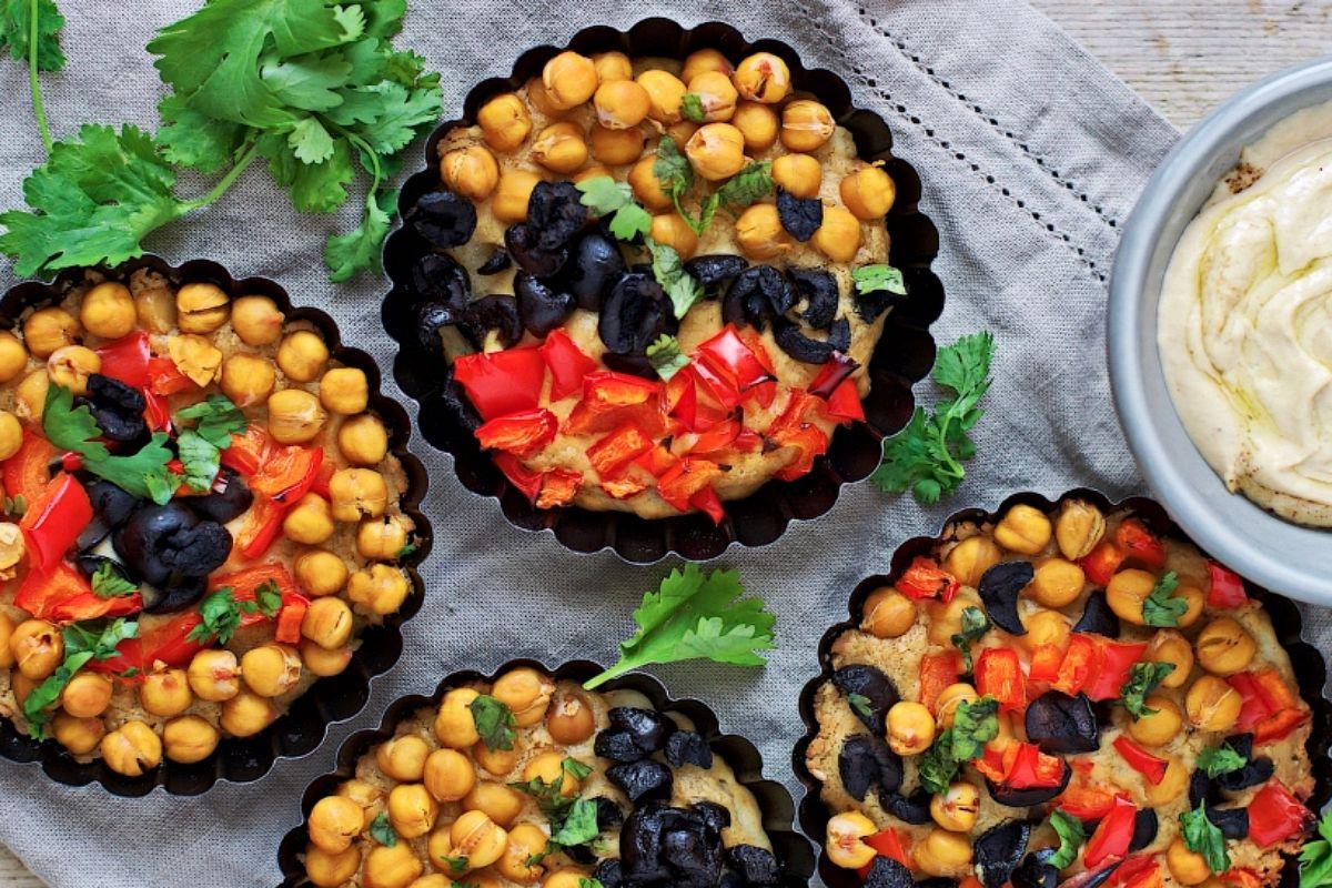 Hummus Pizza Tartlets [Vegan, Gluten-Free]