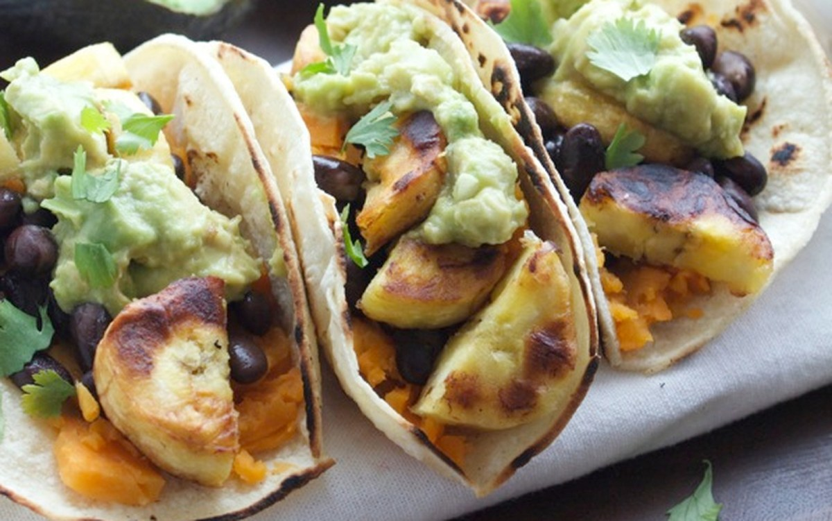 Plantain Sweet Potato Tacos With Guacamole [Vegan, Gluten ...