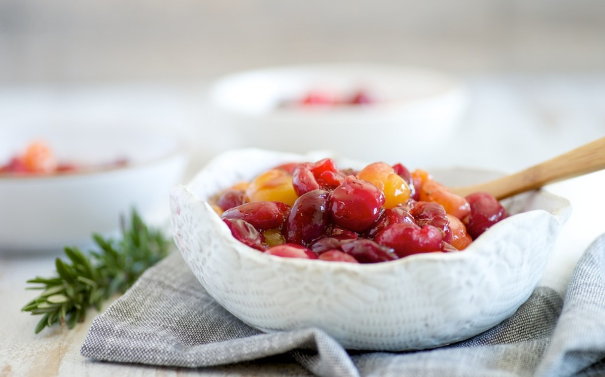 Stewed Cherries With Rosemary