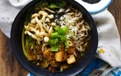 Miso Ramen Bowl With Tellicherry Black Pepper Tofu [Vegan]
