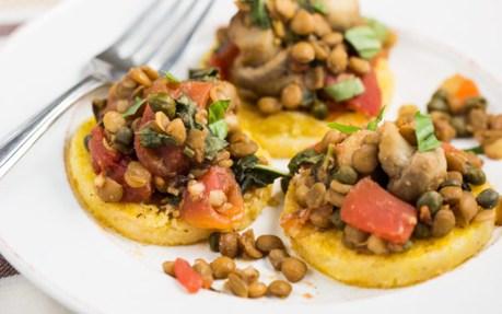 Polenta Cakes with Lentils and Veggies