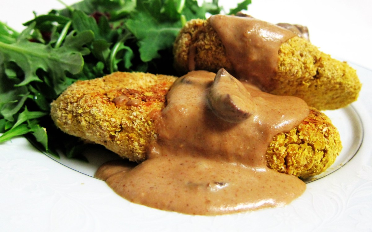 Crispy Breaded Chickpea Cutlets in a Savory Mushroom Gravy
