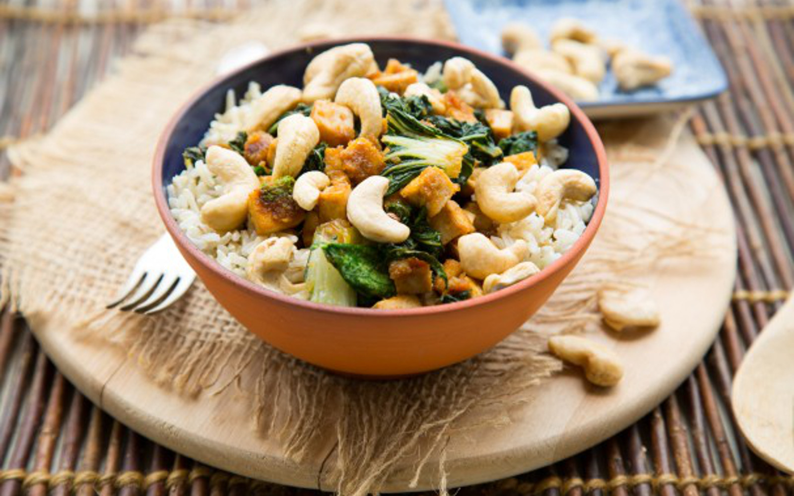 Ginger Citrus Tofu Power Bowl With Bok Choy and Cashews