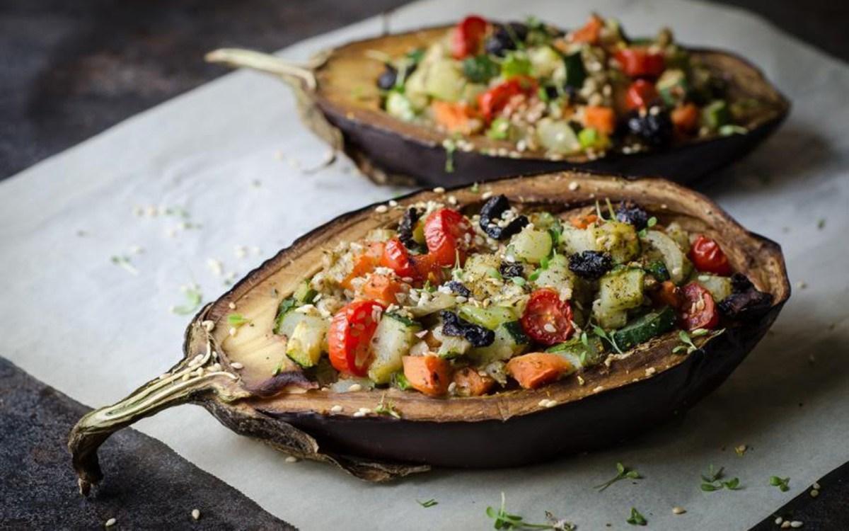 Vegetable-Stuffed Baked Eggplant [Vegan]