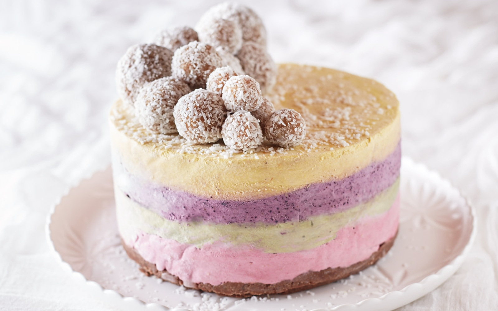 Four Layer Raw Rainbow Ice Cream Cake