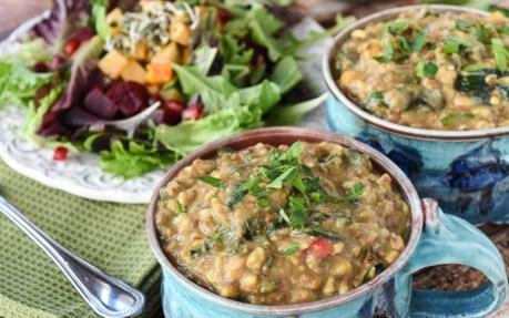 Vegan Kitchari: Comforting Indian Vegetable Stew with salad