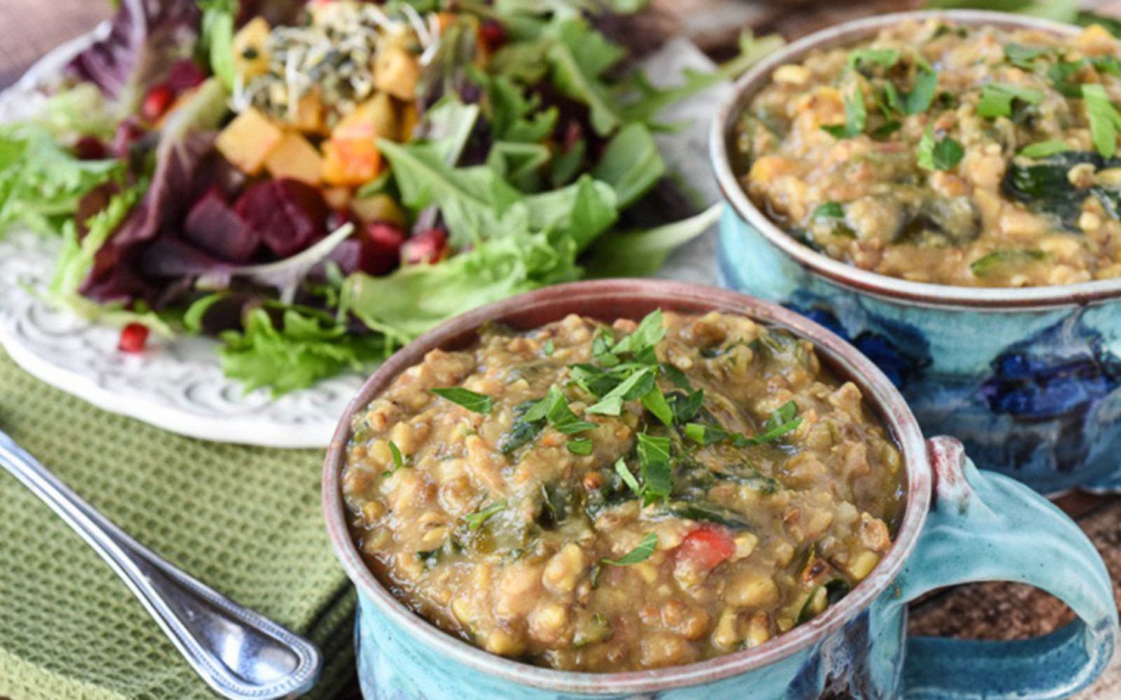 Vegan Kitchari: Comforting Indian Vegetable Stew with salad