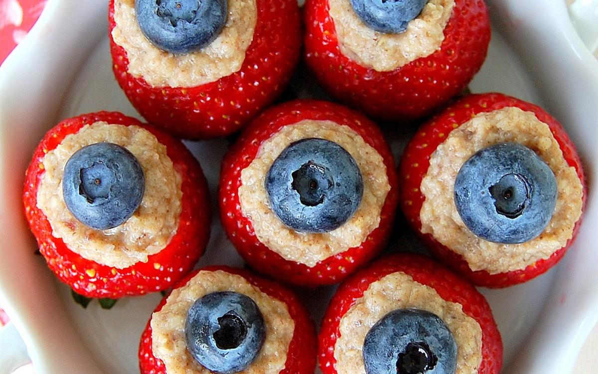 Cashew Date Cream-Stuffed Strawberries