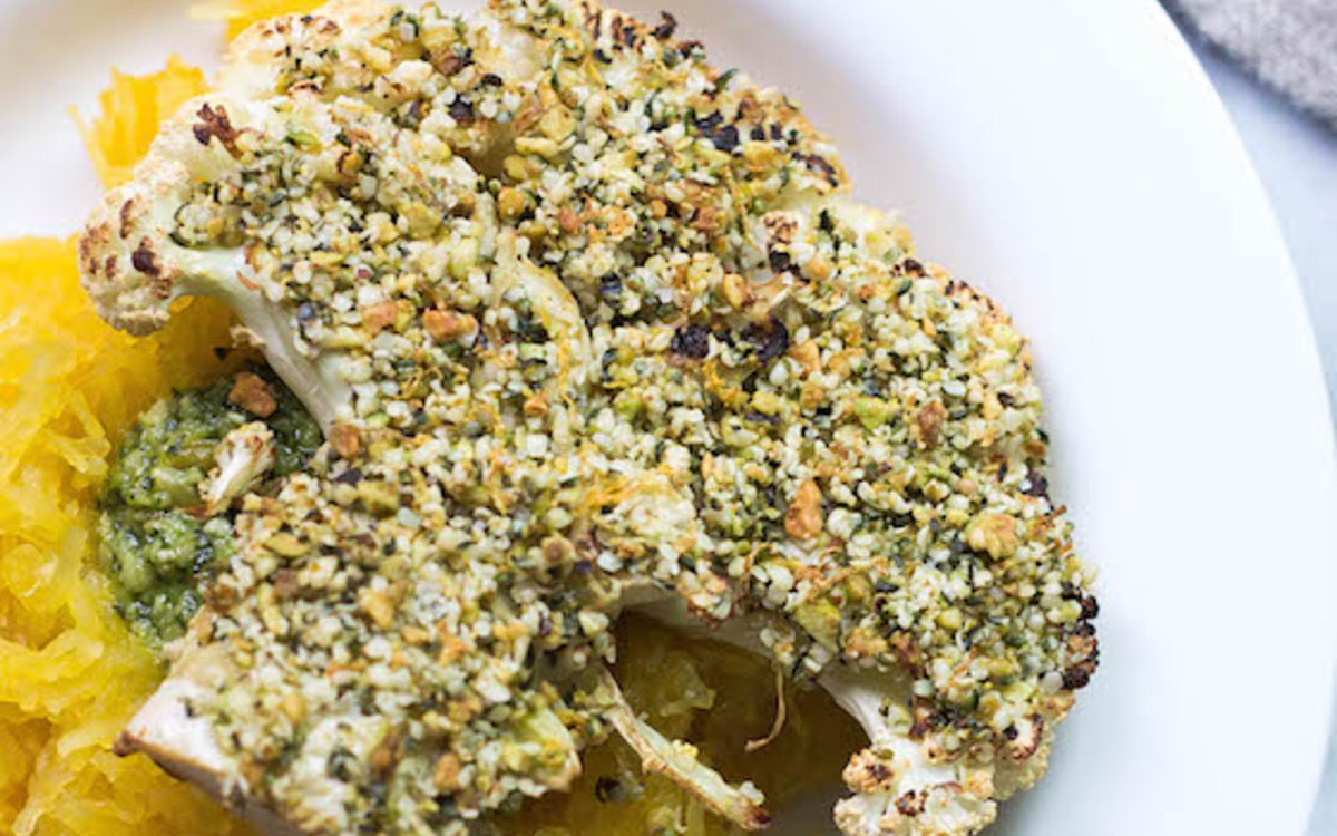 Vegan Hemp and Pistachio-Crusted Cauliflower Steaks