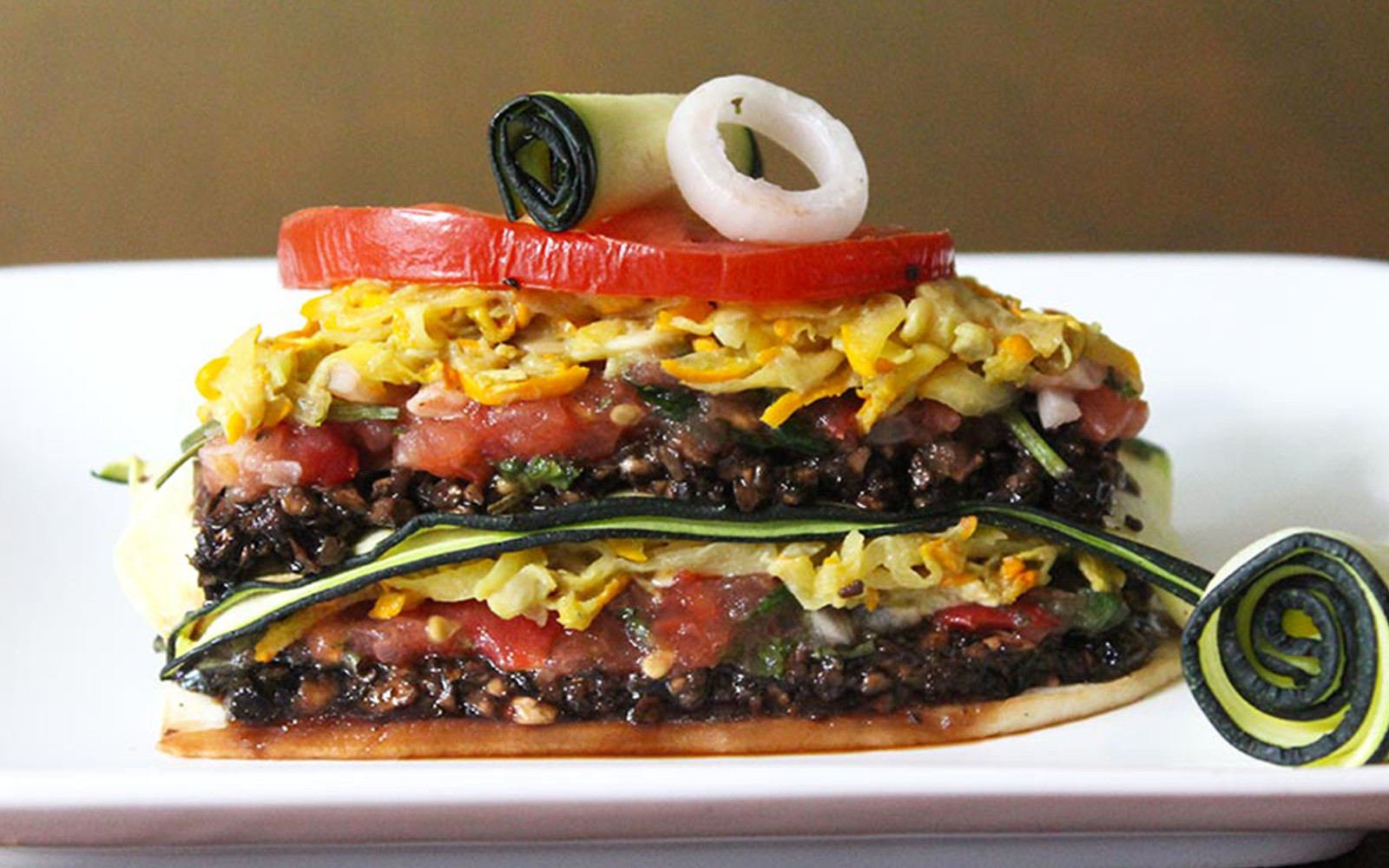 Raw Mushroom Lasagna With Zucchini Cheese