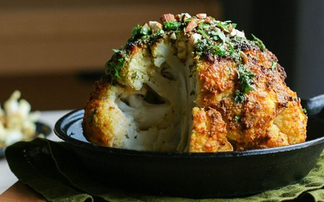 Vegan Tahini-Roasted Cauliflower With Lemony Herb