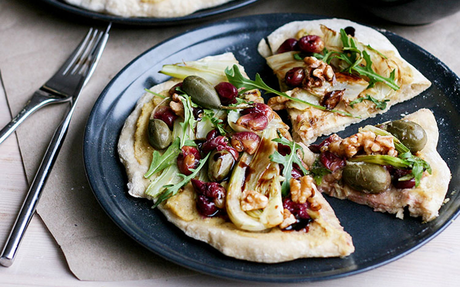 White Pizza With Fennel and Roasted Grapes