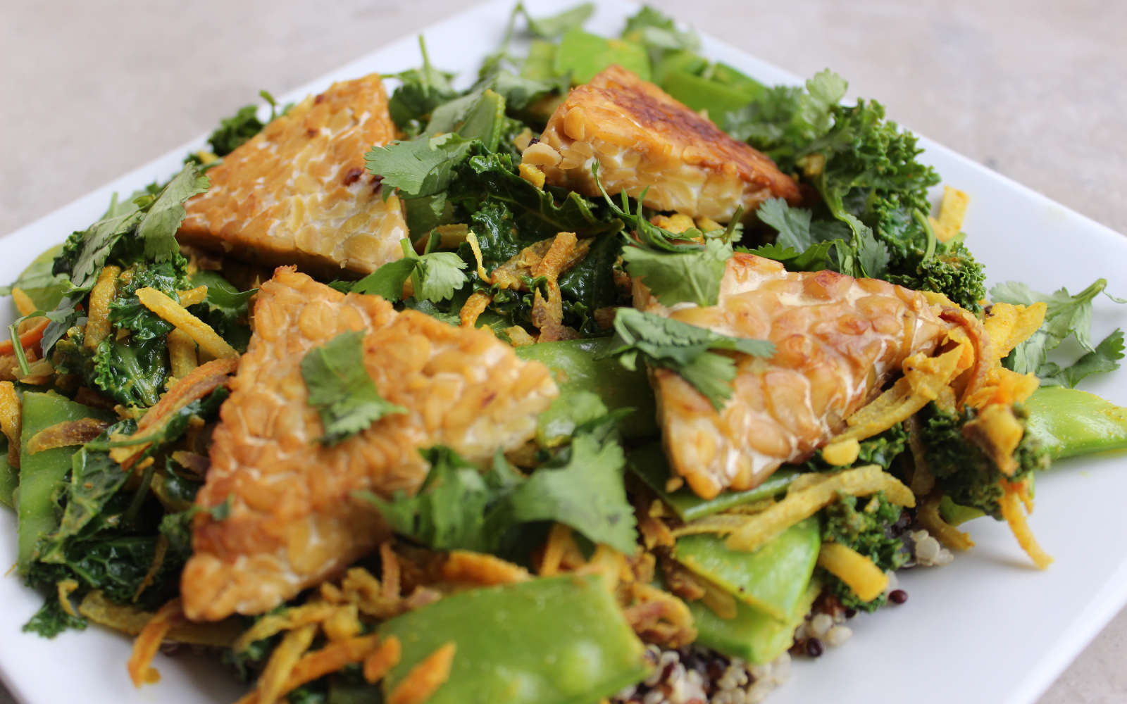 Curried Vegetables With Tempeh Triangles