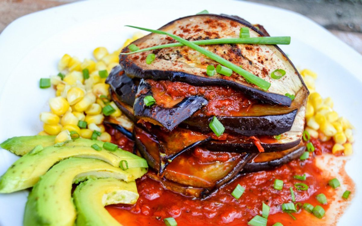 Grilled Eggplant Stack With Roasted Red Pepper Sauce