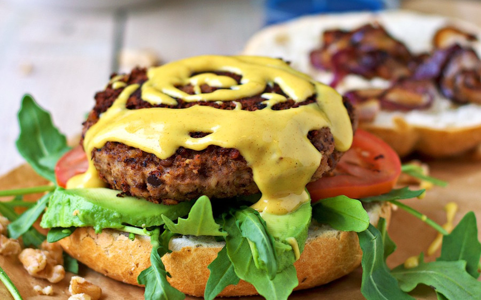 Lentil Burger With Mustard Sauce 3