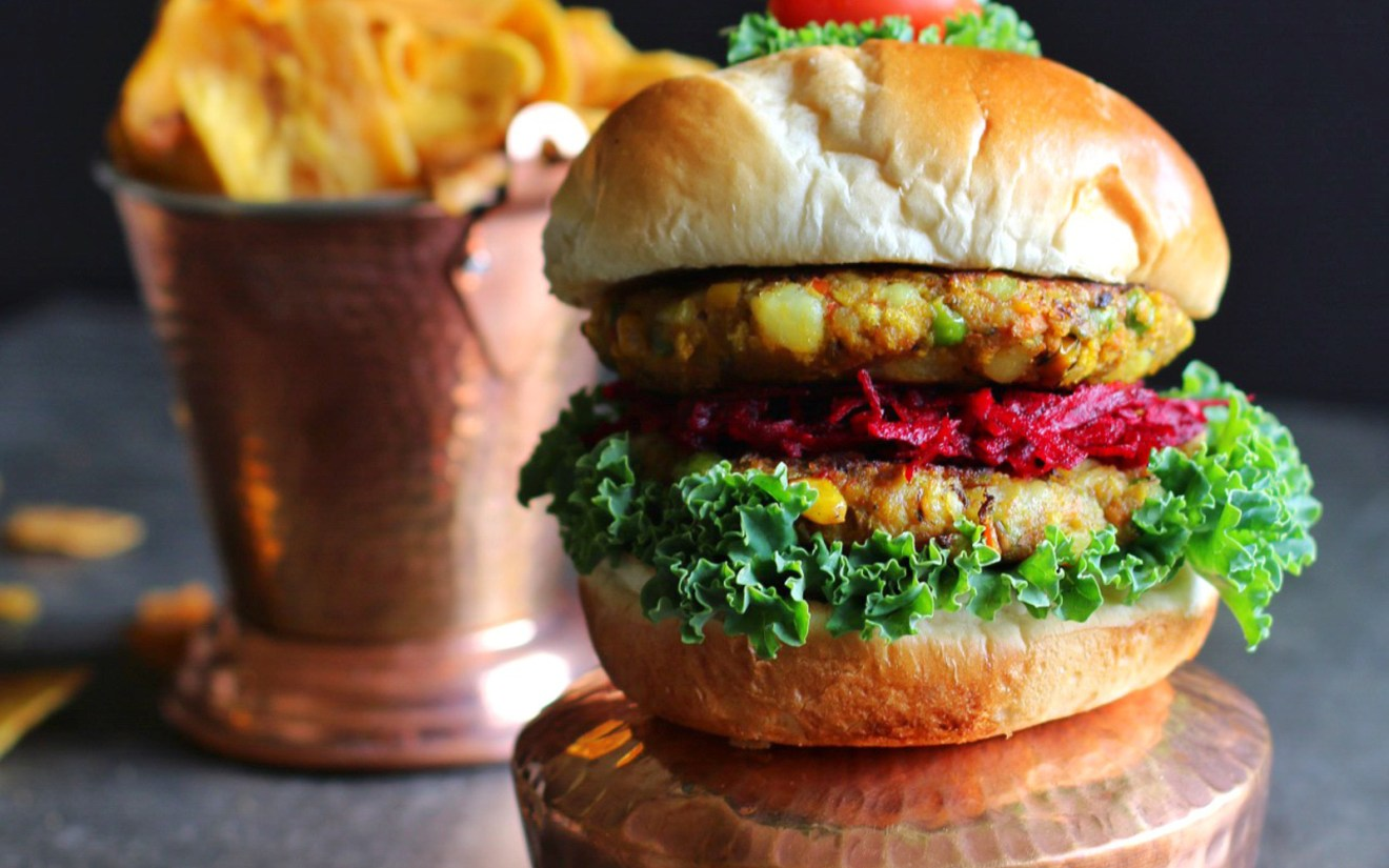 Vegan Vegetable Samosa Burger