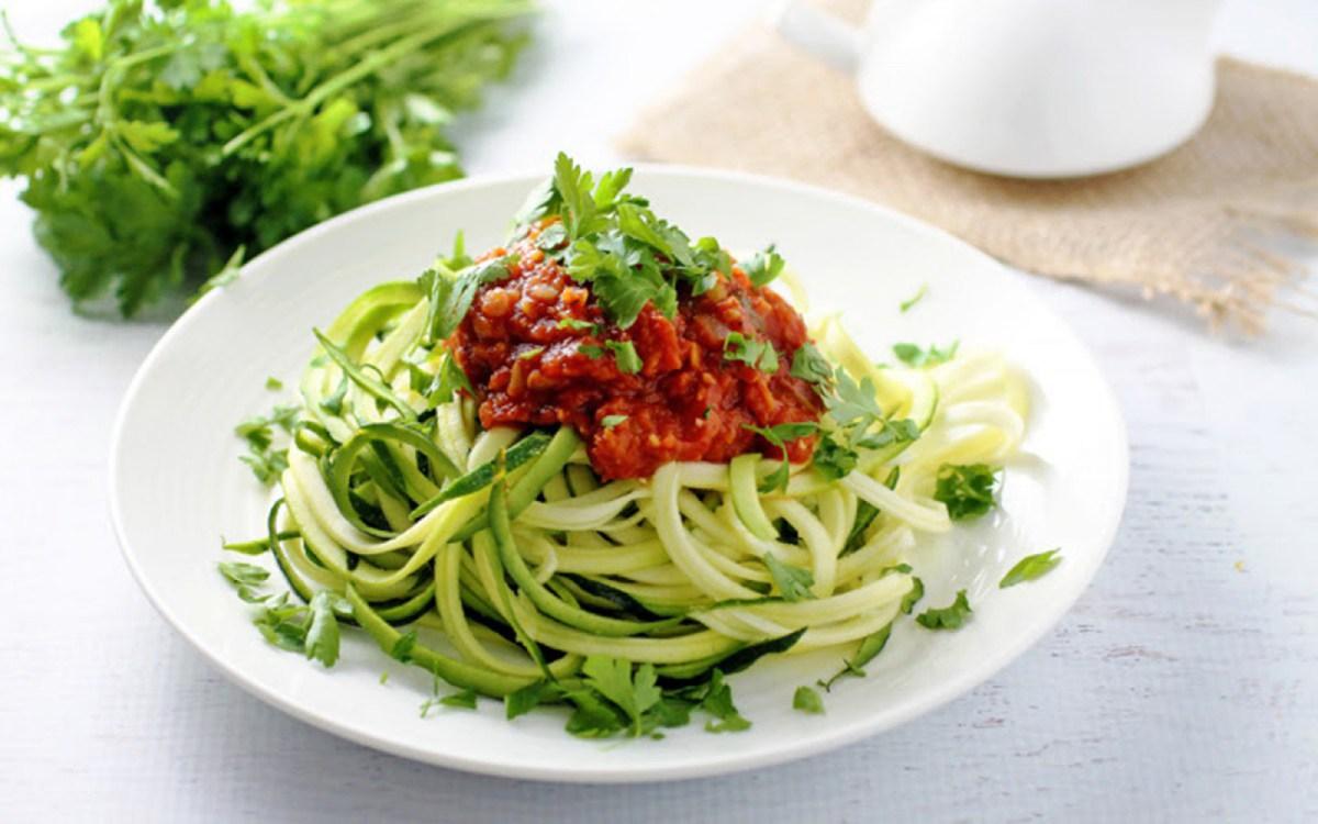 Vegan Gluten Free Lentil Fra Diavolo Over Zucchini Pasta