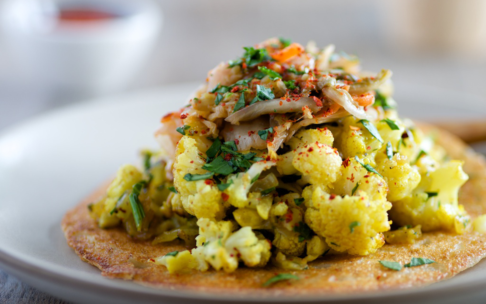 Dosa Cakes With Curried Cauliflower and Kimchi