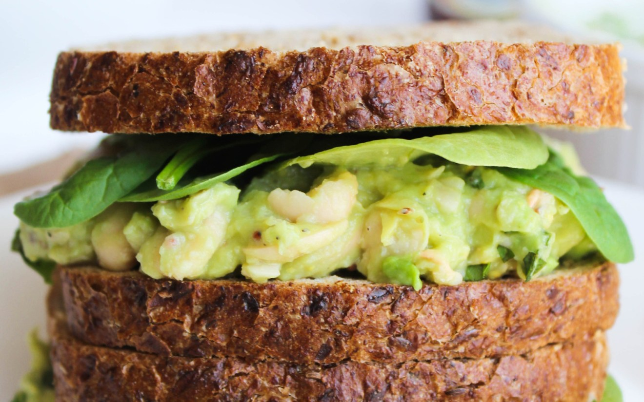 Vegan Smashed White Bean Avocado and Basil Sandwich
