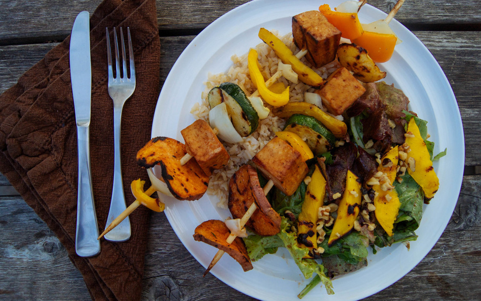 Tofu Kebabs With Grilled Mango Sorrel Salad