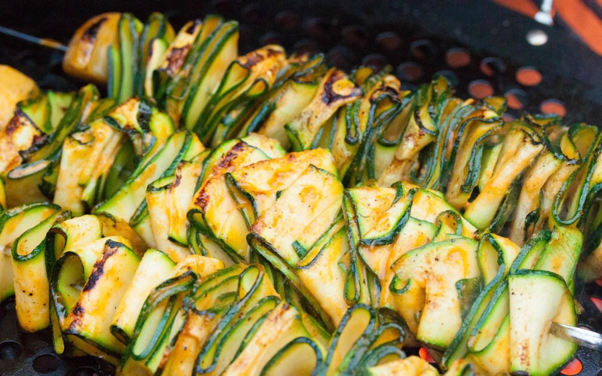 Vegan Grilled Zucchini Ribbons With Sriracha Marinade