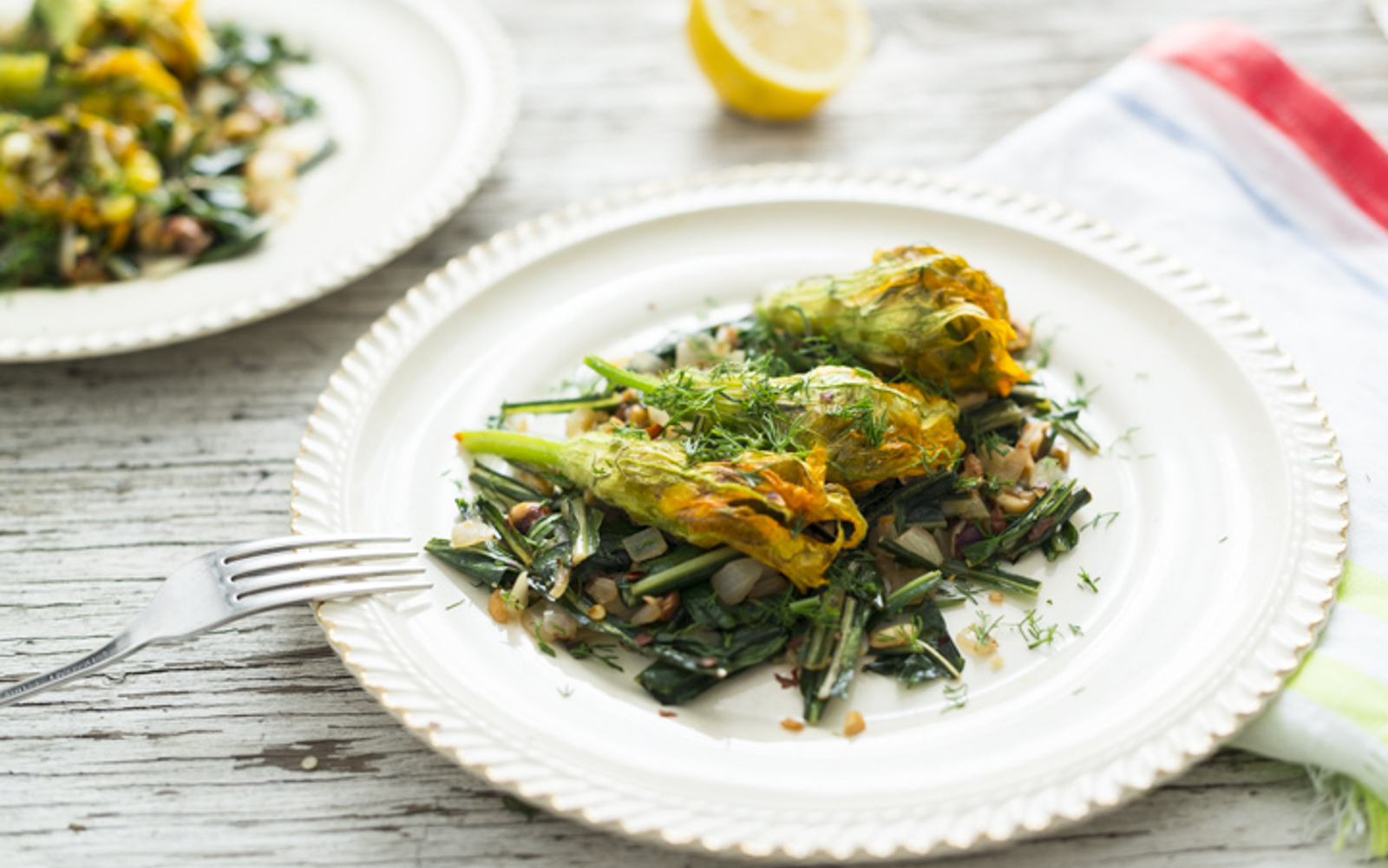 Okra and Corn Stuffed Squash Blossoms