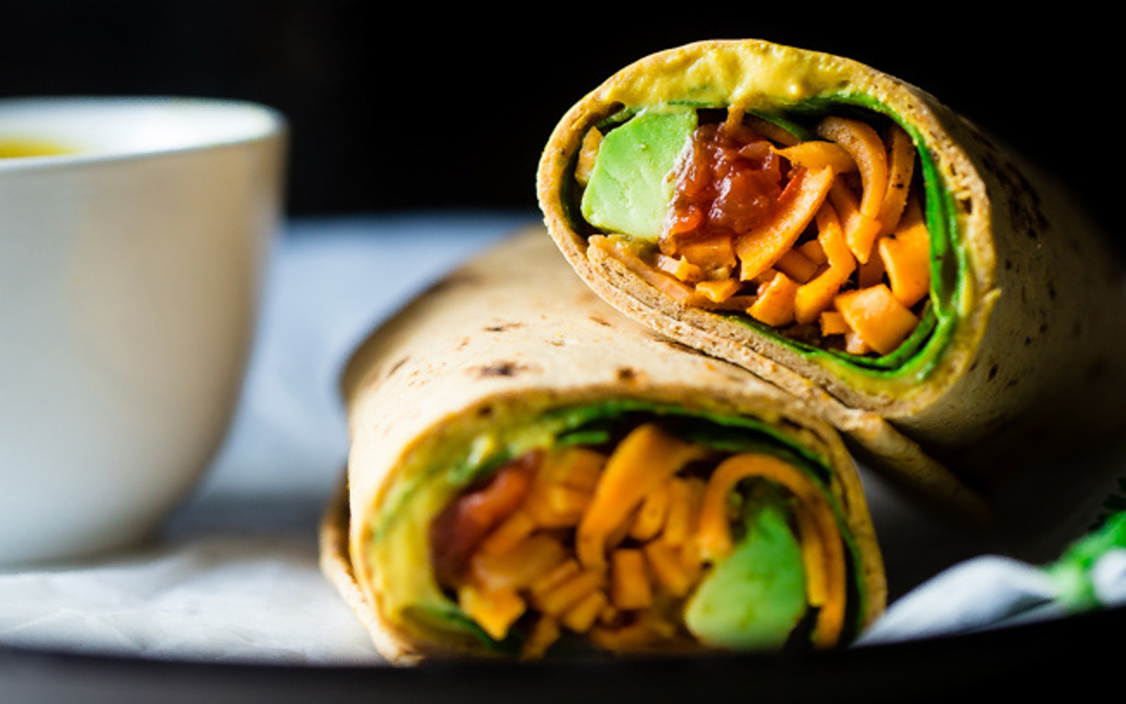 Cheesy Sweet Potato Noodle Wraps