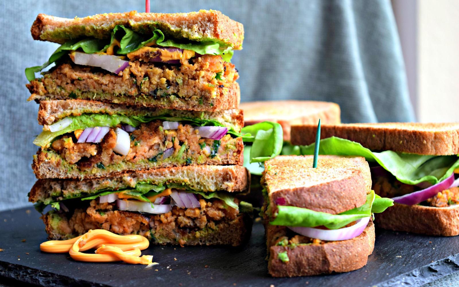 indian lentil patty sandwich