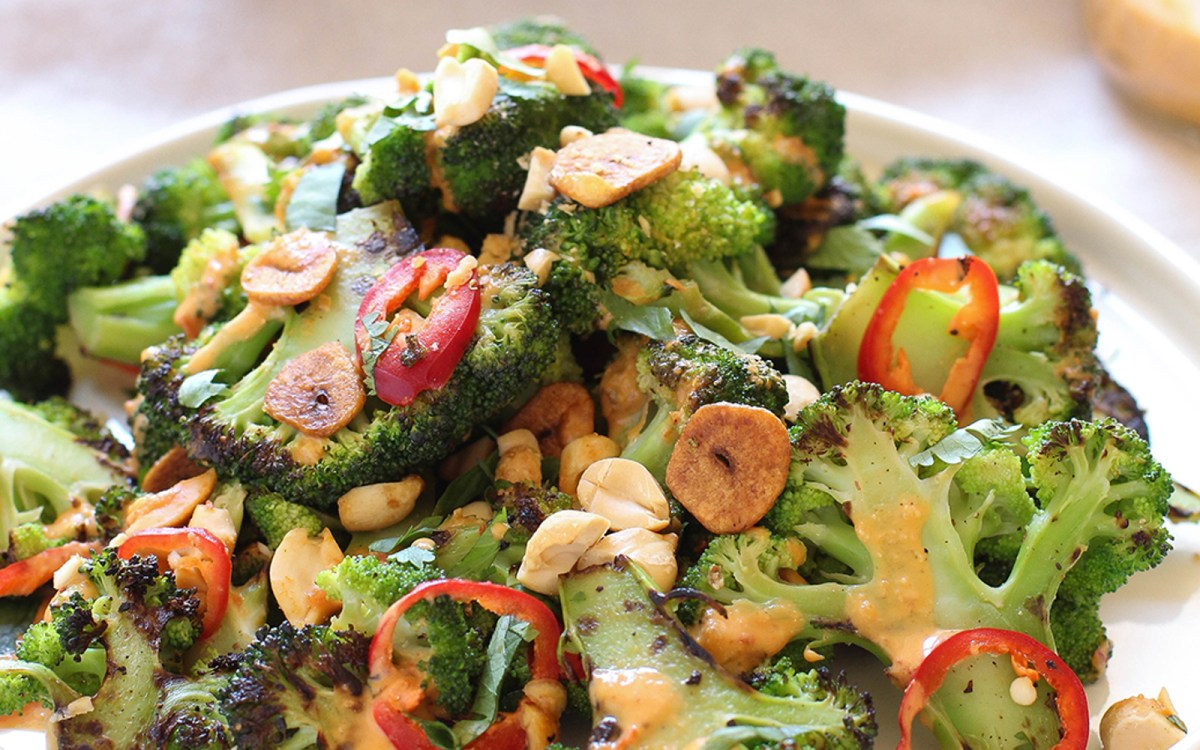Vegan Spicy Broccoli Salad With Peanut Sauce