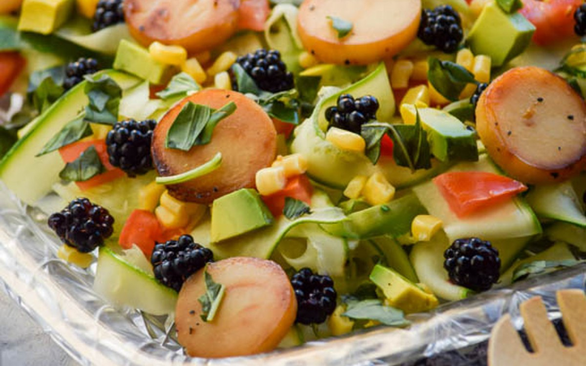 Zucchini Ribbon and Caramelized Hearts of Palm Salad