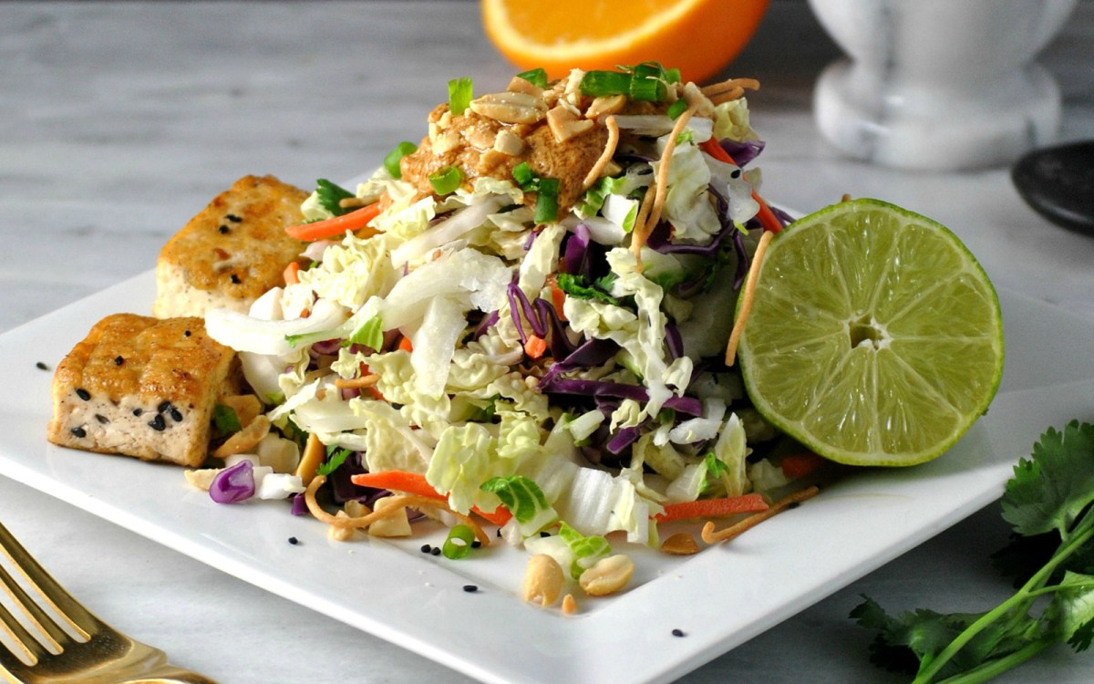 Chinese Cabbage Salad With Tofu and Spicy Peanut Dressing