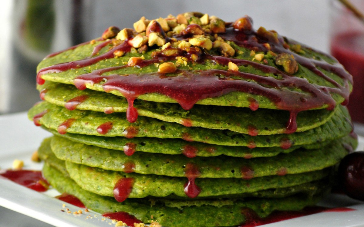 Pistachio Pancakes With Cherry Syrup