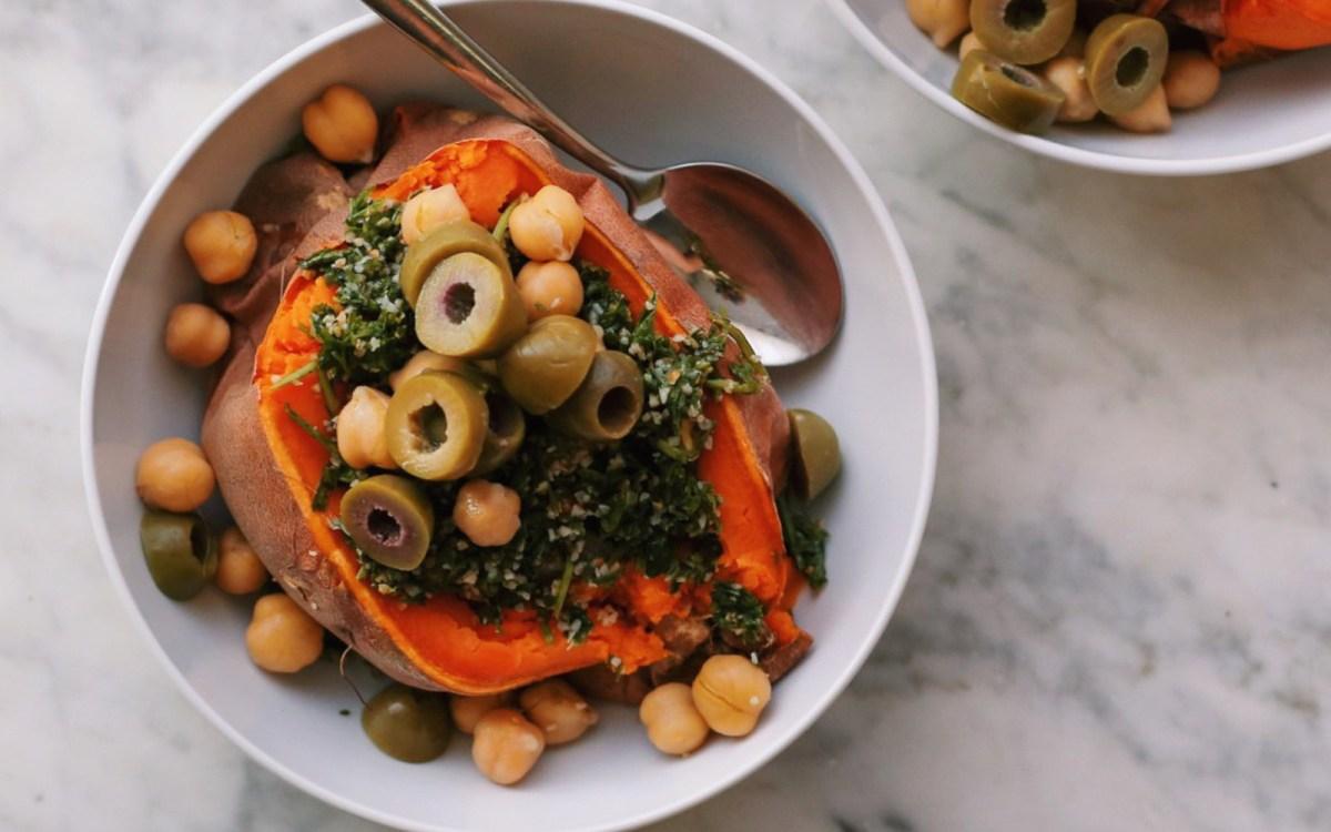 Mediterranean Stuffed Sweet Potato Boats Vegan