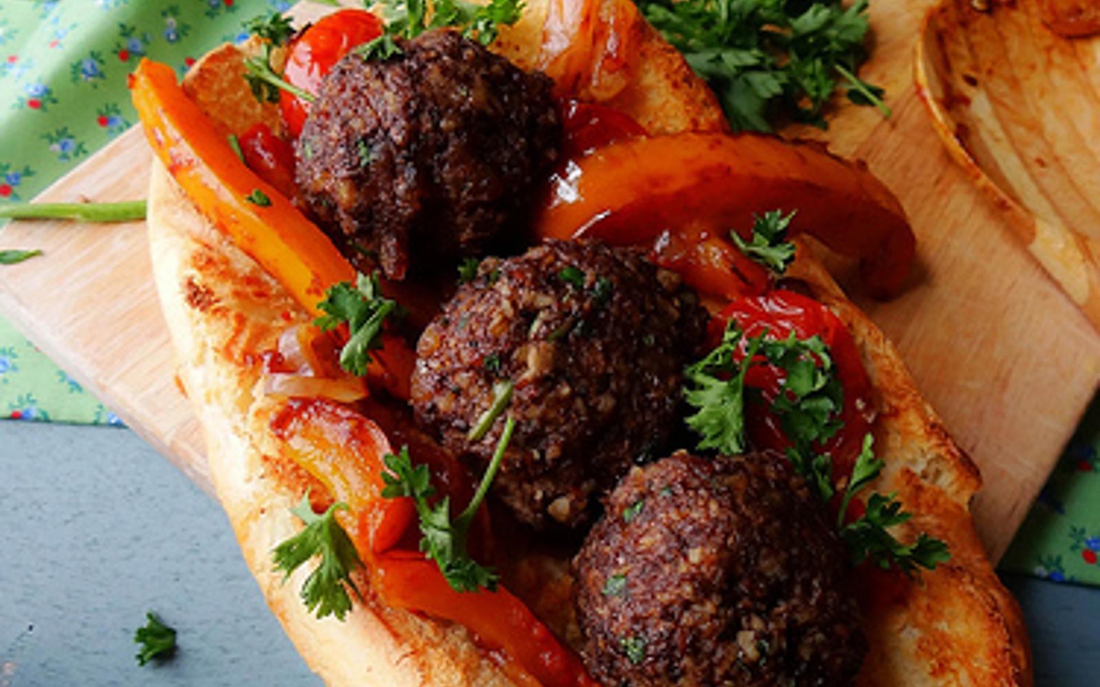 Walnut Portobello Meatball Subs d