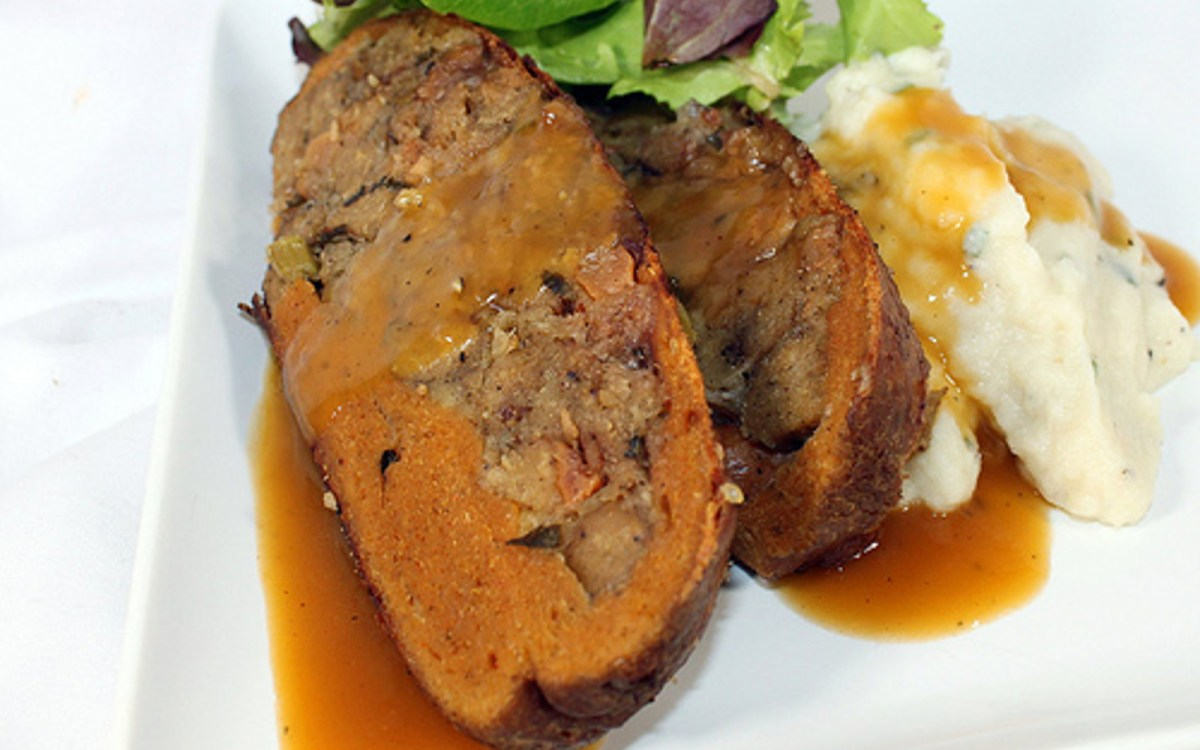 Seitan Roast With Sausage and Pear Stuffing and Apple Cider Gravy