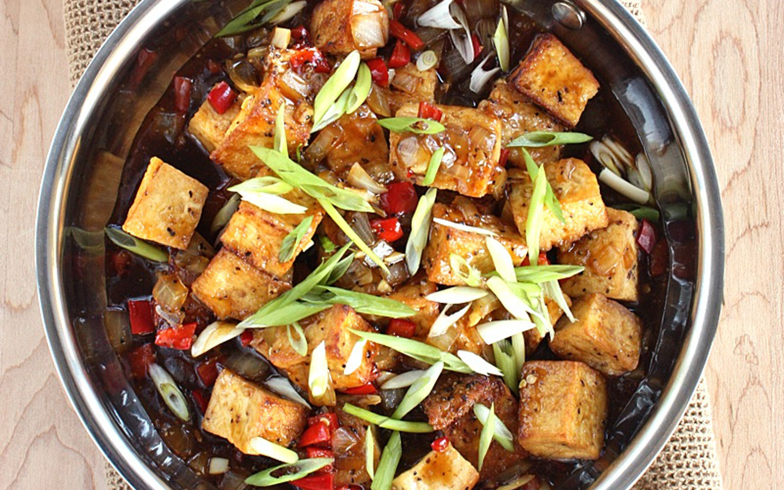 Vegan Tofu in Black Pepper Sauce