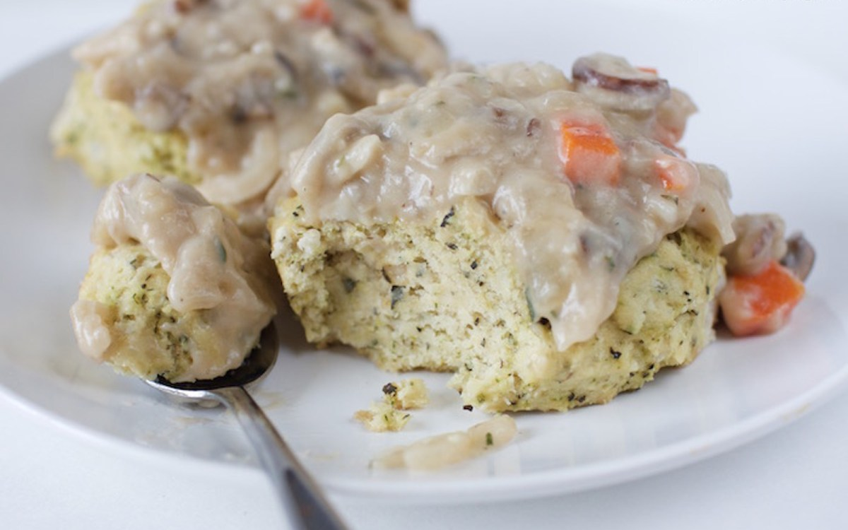 Herbed Biscuits With Mushroom Gravy b