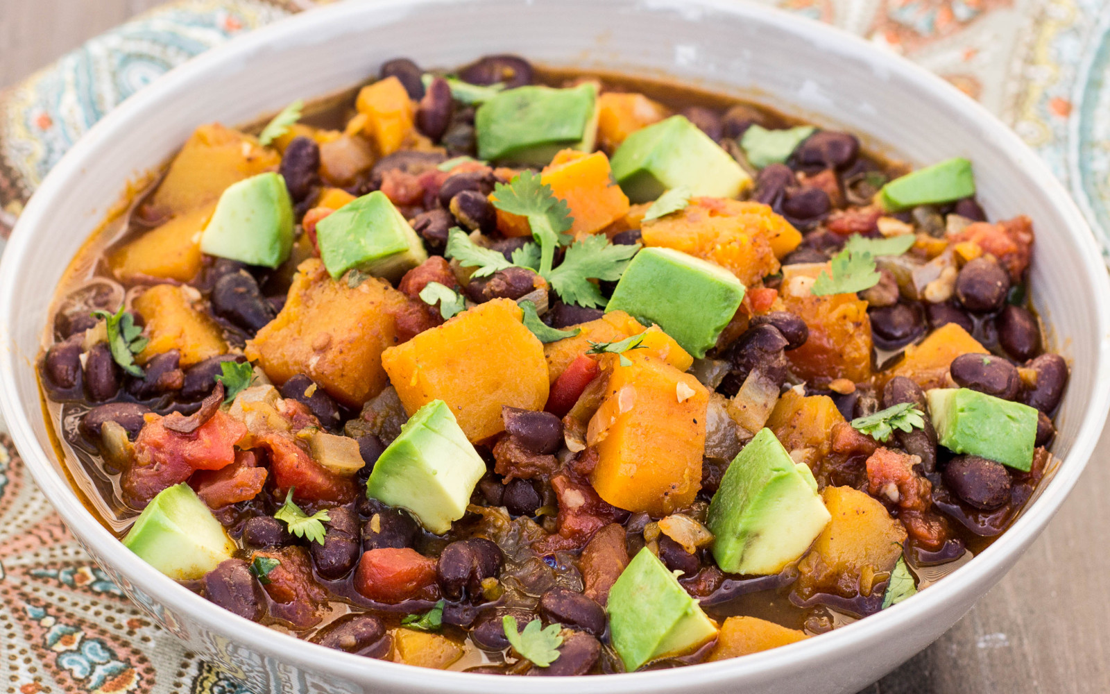 Vegan gluten-free Butternut Squash and Black Bean Chili