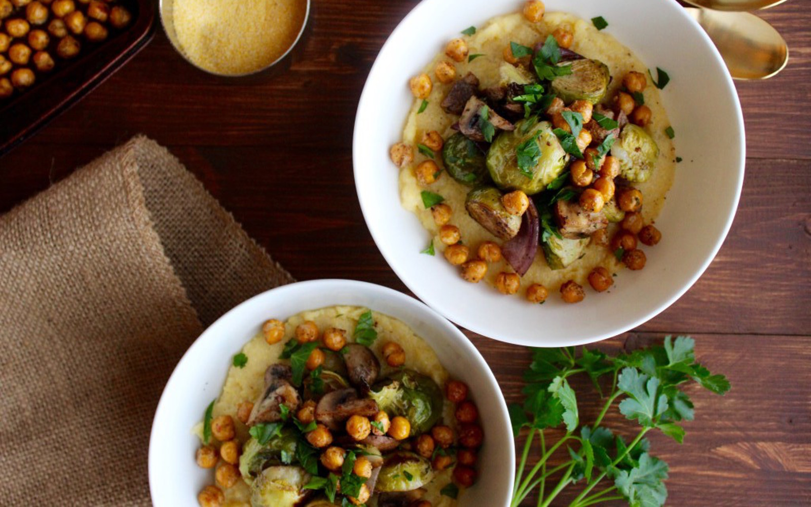 Creamy Polenta With Balsamic Brussels Sprouts and Chickpeas b