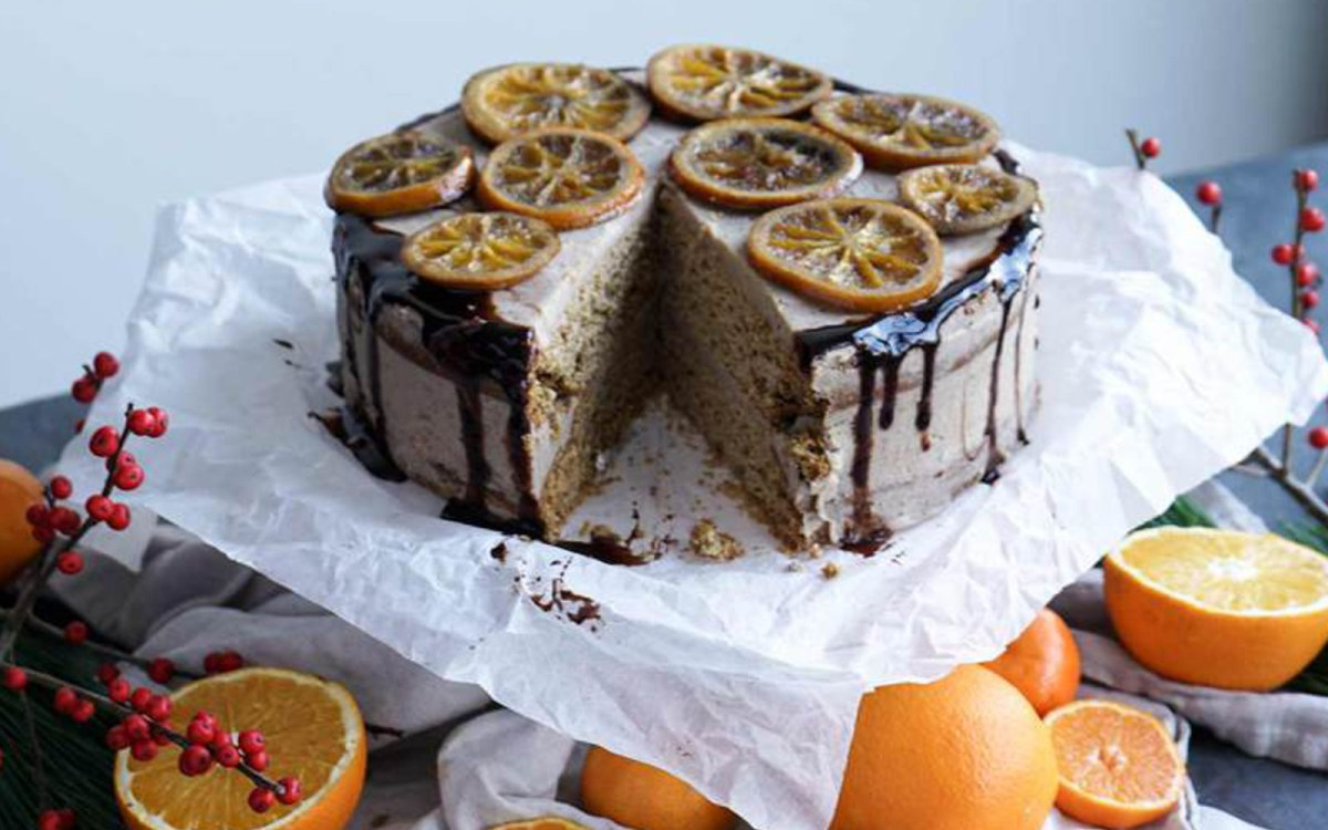 Orange Layer Cake With Chestnut Frosting