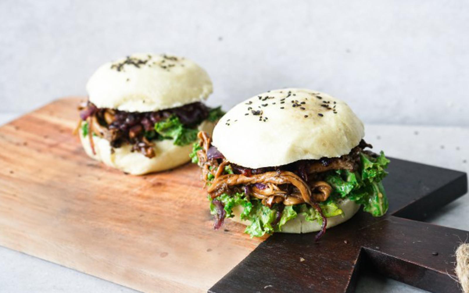 Pulled Oyster Mushroom Bao Burger