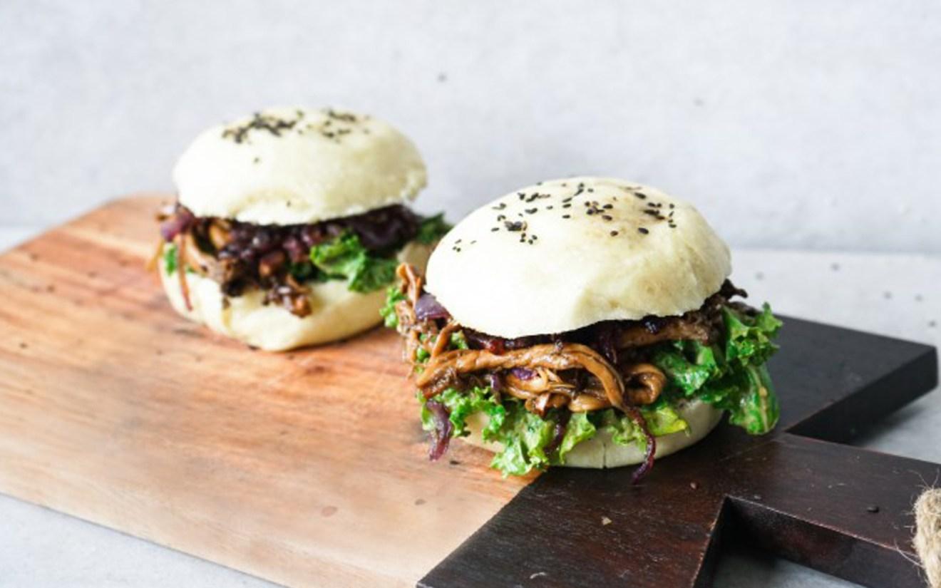 Vegan Pulled Oyster Mushroom Bao Burger