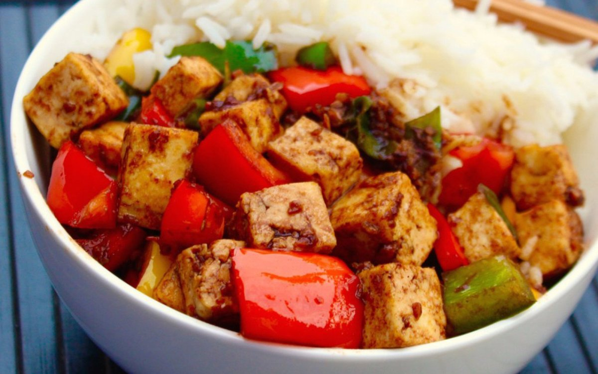 Vegan Black Bean Tofu and Red Peppers